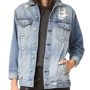 Sandrine rose embroidered denim jacket